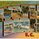 MYRTLE BEACH, South Carolina large letter linen postcard Tichnor