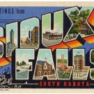 SIOUX FALLS, South Dakota large letter linen postcard Teich
