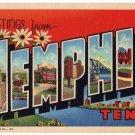 MEMPHIS, Tennessee large letter linen postcard Teich