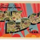 OAK RIDGE, Tennessee large letter linen postcard Tichnor