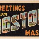 BOSTON, Massachusetts large letter linen postcard Teich