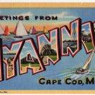 HYANNIS, Cape Cod, Massachusetts large letter linen postcard Teich