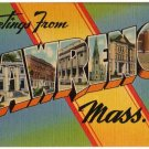 LAWRENCE, Massachusetts large letter linen postcard Tichnor