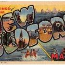 NEW BEDFORD, Massachusetts large letter linen postcard Teich