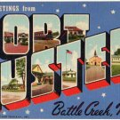 FORT CUSTER, Michigan large letter linen postcard Teich