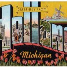 HOLLAND, Michigan large letter linen postcard Kropp