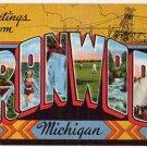 IRONWOOD, Michigan large letter linen postcard Kropp