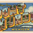 PORT HURON, Michigan large letter linen postcard Teich