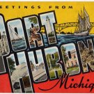 PORT HURON, Michigan large letter linen postcard Kropp