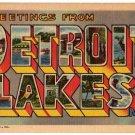 DETROIT LAKES, Minnesota large letter linen postcard Teich