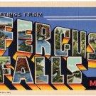 FERGUS FALLS, Minnesota large letter linen postcard Teich