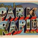 PARK RAPIDS, Minnesota large letter linen postcard Teich