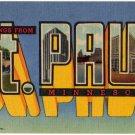 ST. PAUL, Minnesota large letter linen postcard Teich