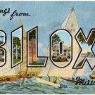 BILOXI, Mississippi large letter linen postcard Kropp