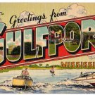 GULFPORT, Mississippi large letter linen postcard Colourpicture