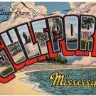 GULFPORT, Mississippi large letter linen postcard Kropp