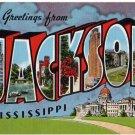 JACKSON, Mississippi large letter linen postcard Kropp