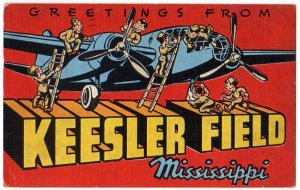 KEESLER FIELD, Mississippi large letter linen postcard Kropp
