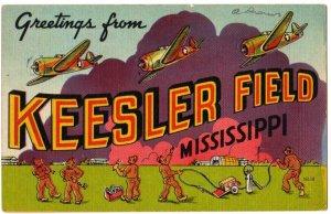 KEESLER FIELD, Mississippi large letter linen postcard Colourpicture