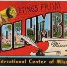 COLUMBIA, Missouri large letter linen postcard Kropp