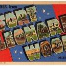 FORT LEONARD WOOD, Missouri large letter linen postcard Teich