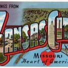 KANSAS CITY, Missouri large letter linen postcard Kropp