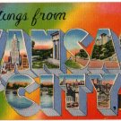 KANSAS CITY, Missouri large letter linen postcard Metropolitan