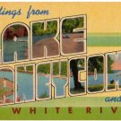 LAKE TANEYCOMO, Missouri large letter linen postcard MWM