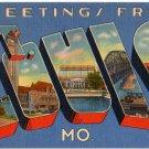 ST. LOUIS, Missouri large letter linen postcard Tichnor