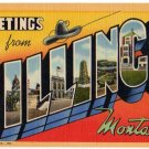 BILLINGS, Montana large letter linen postcard Teich