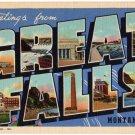 GREAT FALLS, Montana large letter linen postcard Teich