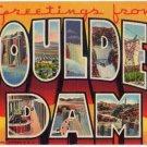 BOULDER DAM, Nevada large letter linen postcard Teich