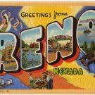 RENO, Nevada large letter linen postcard Teich