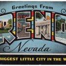 RENO, Nevada large letter linen postcard Kropp