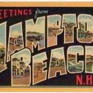 HAMPTON BEACH, New Hampshire large letter linen postcard Teich