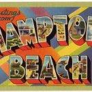 HAMPTON BEACH, New Hampshire large letter linen postcard Tichnor