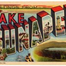 LAKE SUNAPEE, New Hampshire large letter linen postcard Teich