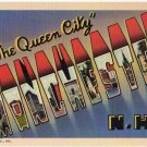 MANCHESTER, New Hampshire large letter linen postcard Teich