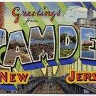 CAMDEN, New Jersey large letter linen postcard Teich
