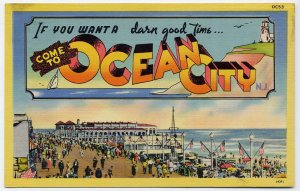 OCEAN CITY, New Jersey large letter linen postcard Colourpicture
