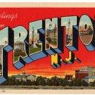 TRENTON, New Jersey large letter linen postcard Teich