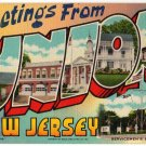 UNION, New Jersey large letter linen postcard Beals