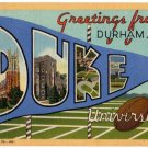 DUKE UNIVERSITY, North Carolina large letter linen postcard Teich