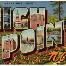 HIGH POINT, North Carolina large letter linen postcard Teich