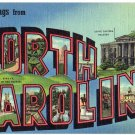 NORTH CAROLINA large letter linen postcard Curt Teich