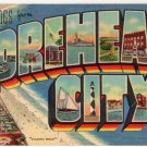 MOREHEAD CITY, North Carolina large letter linen postcard Teich