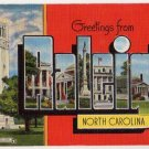 RALEIGH, North Carolina large letter linen postcard Kropp