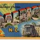RALEIGH, North Carolina large letter linen postcard Tichnor