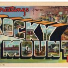 ROCKY MOUNT, North Carolina large letter linen postcard Teich