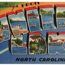 WHITE LAKE, North Carolina large letter linen postcard Tichnor